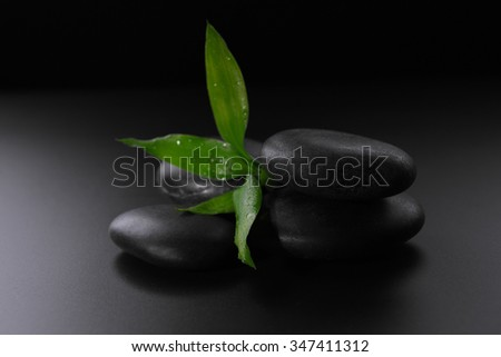 Pile of pebbles with bamboo leaf on black background - stock photo