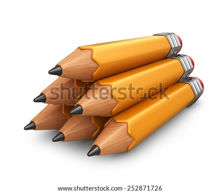 Pile of pencil. 3D icon isolated on white background - stock photo