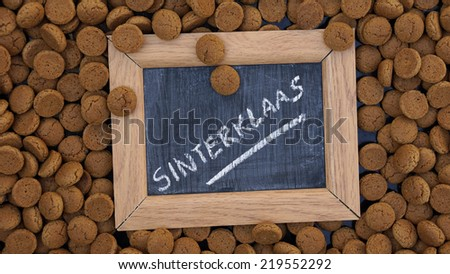 Pile of Pepernoten on a plate, typical Dutch treat for Sinterklaas on 5 december                     - stock photo