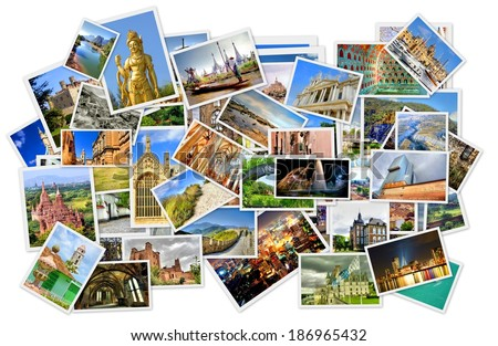 pile of photo's with travel destinations from all over the world isolated on white  - stock photo