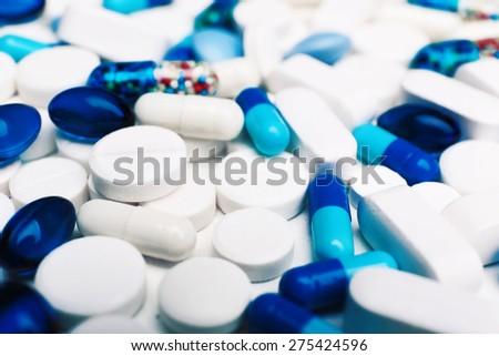 Pile of pills, closeup - stock photo