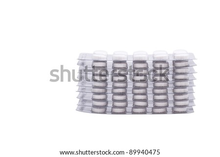 Pile of pills. Image is isolated on white background.