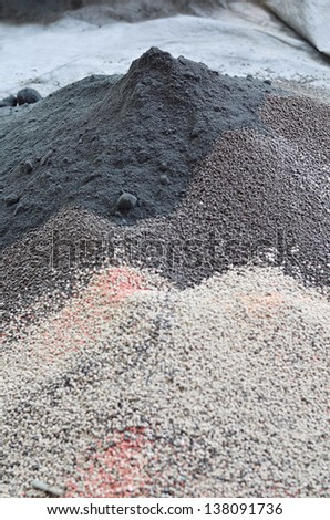 Pile of plant chemical fertilizer - stock photo