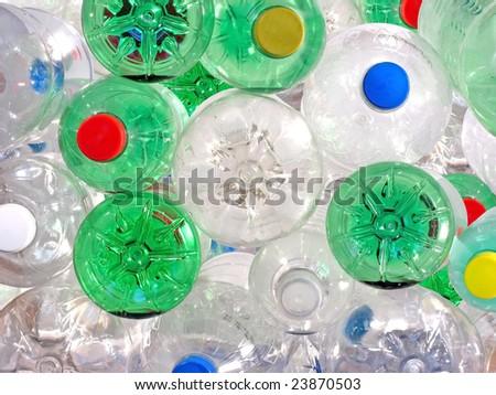 Pile of Plastic Beverage Bottles - stock photo