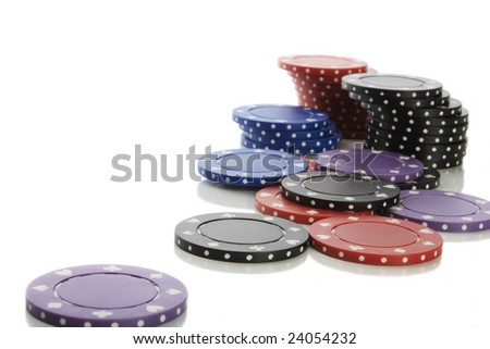 Pile of poker chips isolated on white - stock photo