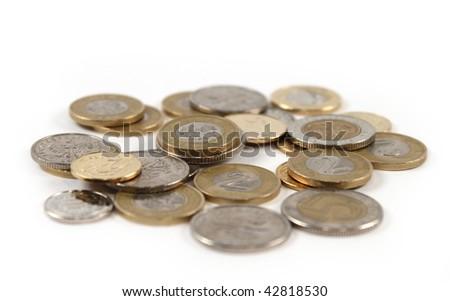 Pile of polish zloty coin money, isolated - stock photo