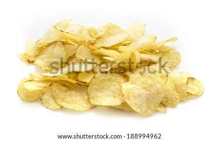 Pile of Potato Crisps on a white background - stock photo