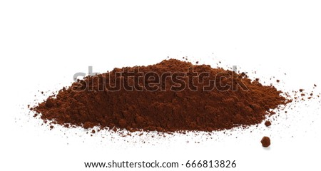 Pile of powdered, instant coffee isolated on white background