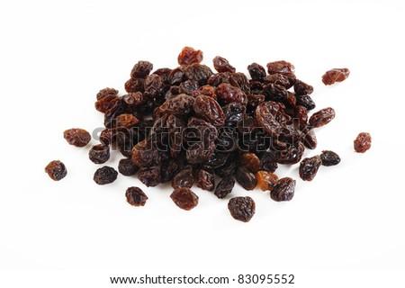 pile of raisins  on  white background - stock photo