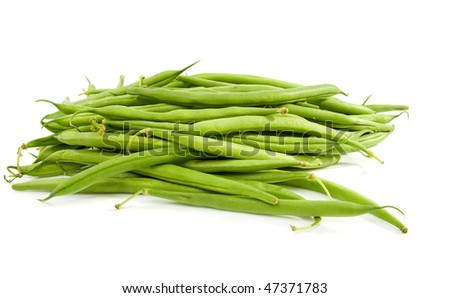 Pile of raw green long beans over white background