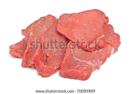 Pile of raw red meat on white background - stock photo