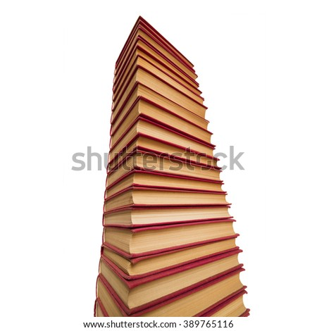 pile of red books on white background