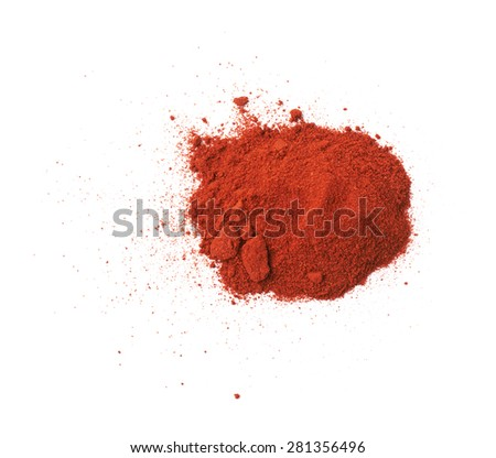 Pile of red chili paprika powder isolated over the white background - stock photo