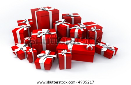 pile of red gift boxes with white ribbons - stock photo