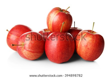 Pile of red juicy apples isolated on white background - stock photo