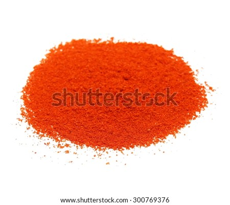 Pile of red paprika powder isolated on white