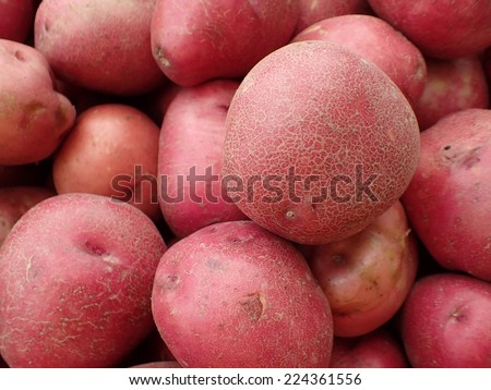 Pile of Red Potatoes for sale at farmers market in Maui, Hawaii. - stock photo