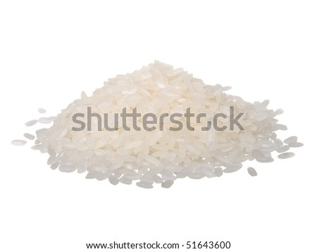 Pile of rice isolated on white - stock photo