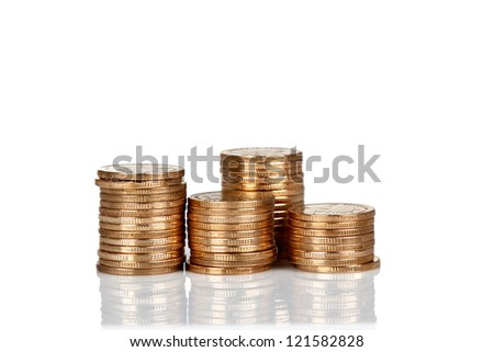 Pile of RMB coins isolated on white backgrounds