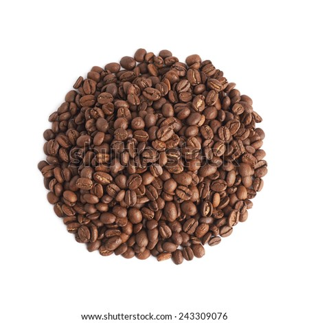 Pile of roasted brown coffee beans, isolated over the white background - stock photo