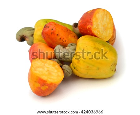 Pile of roasted salted cashews on a white background - stock photo