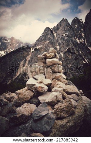 Pile of rocks stone in mountains. Zen concept  - stock photo