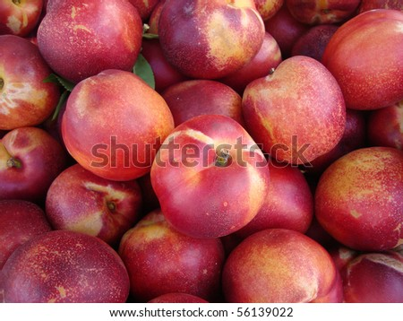 pile of Rose Diamond Nectarines on display at a farmers market in San Francisco