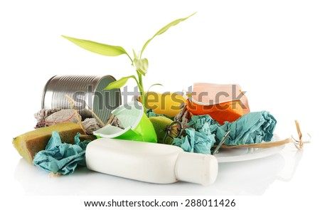 Pile of rubbish with plant isolated on white - stock photo