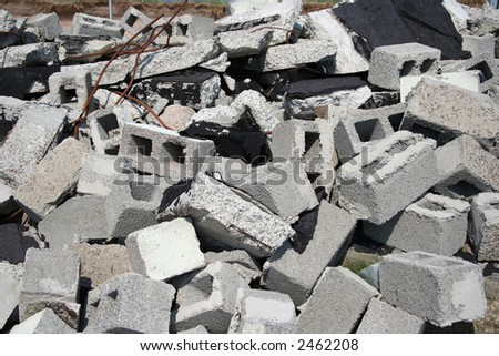 pile of rubble after demolition - stock photo