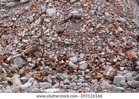 Pile of rubble in focus - stock photo