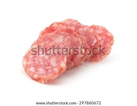 pile of salchichon, red spanish salami, isolated on a white background