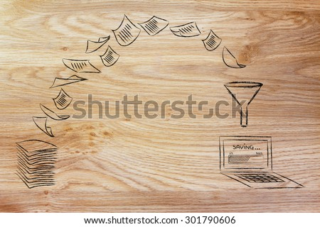 pile of sheets being turned into digital data (laptop with progress bar), concept of paperless office - stock photo