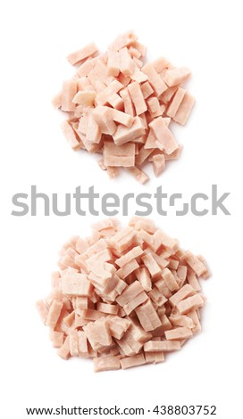 Pile of shredded pizza ham topping isolated over the white background, set of two different foreshortenings
