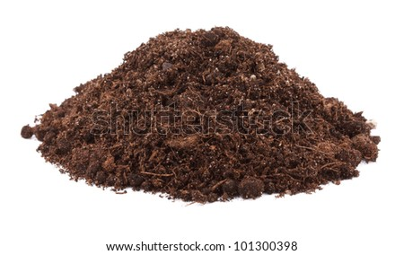Pile of soil for plant isolated on white background