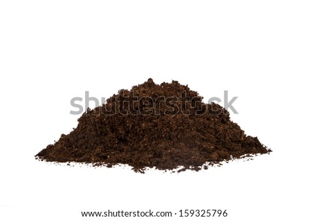 Pile of soil, side view, isolated on white background. - stock photo