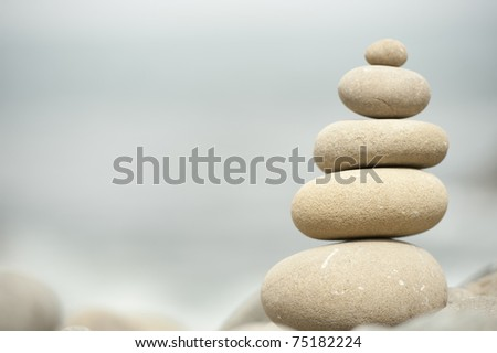 pile of stones balanced at beach