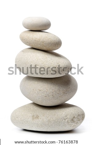 pile of stones isolated on white background - stock photo
