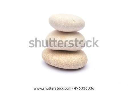 Pile of stones on white background