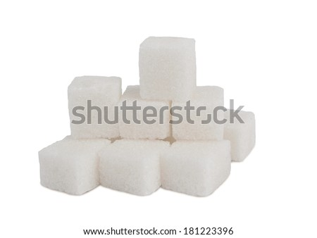 Pile of sugar lumps, isolated on a white background - stock photo