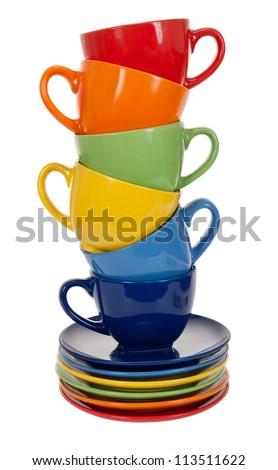 Pile of tea cups - stock photo