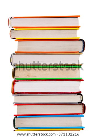 Pile of the Books Isolated on the White Background - stock photo