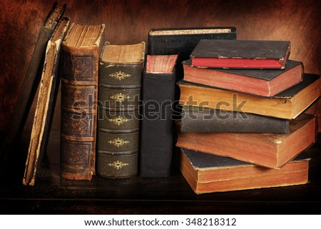 Pile of the old books - stock photo