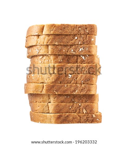 Pile of the sliced bread toasts pieces isolated over the white background - stock photo