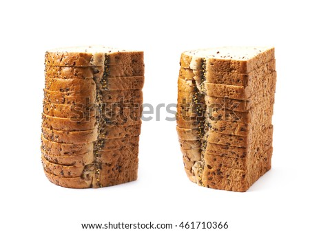 Pile of the white bread's slices isolated over the white background, set of two different foreshortenings