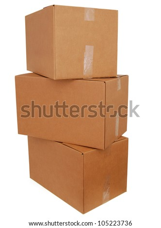 Pile of three large boxes - stock photo