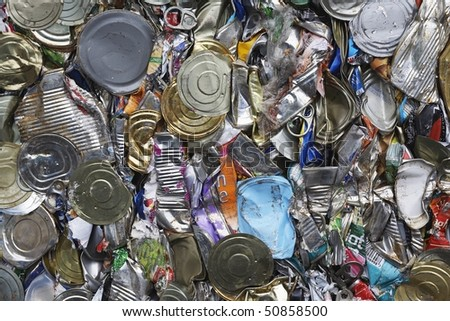 Pile of tin cans, full frame