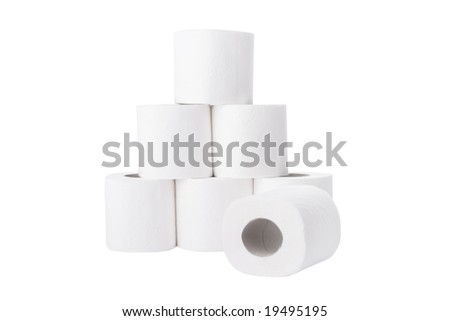 Pile of toilet paper rolls isolated on white background - stock photo