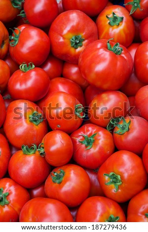 Pile of Tomatoes at the Farmers Market - stock photo