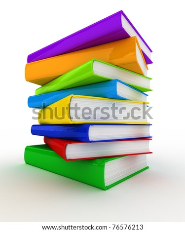 Pile of unmarked and colorful books over white background