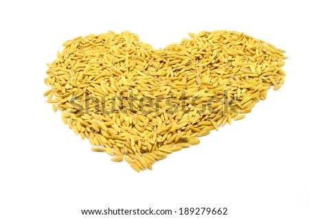 pile of unmilled rice grains isolated on white